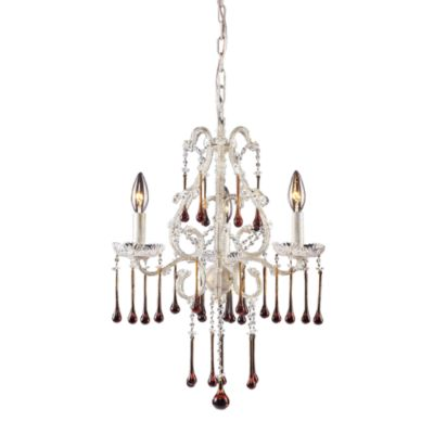 ELK Lighting Opulence 3-Light Chandelier in Antique White with Amber Crystals