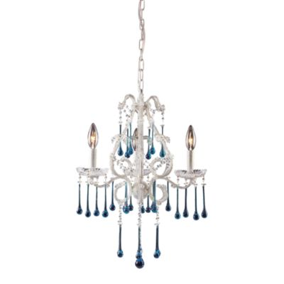 ELK Lighting Opulence 3-Light Chandelier in Antique White with Aqua Crystals