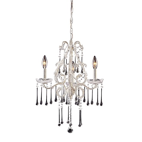 ELK Lighting Opulence 3-Light Chandelier in Antique White with Clear Crystals