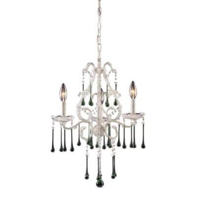 ELK Lighting Opulence 3-Light Chandelier in Antique White with Lime Crystals
