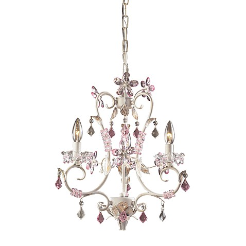 ELK Lighting Elise 3-Light Chandelier in Antique White with Rose and Clear Crystals