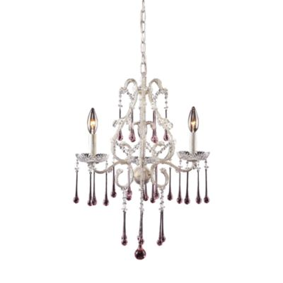 ELK Lighting Opulence 3-Light Chandelier in Antique White and Rose Crystal