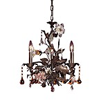 ELK Lighting Cristallo Fiore 3-Light Chandelier in Deep Rust and Hand Blown Florets