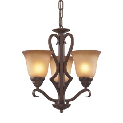 ELK Lighting 3-Light Chandelier in Mocha with Antique Amber Glass