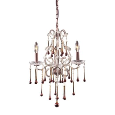 ELK Lighting Opulence 3-Light Chandelier in Rust and Amber Crystal