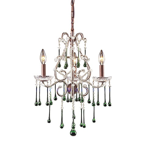 ELK Lighting Opulence 3-Light Chandelier in Rust and Lime Crystal
