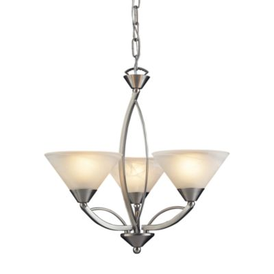 ELK Lighting Elysburg 3-Light Chandelier with Satin Nickel and Marbleized White Glass