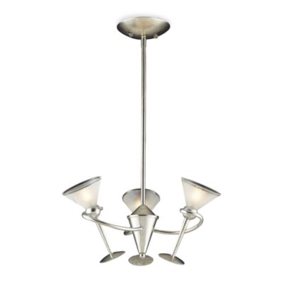ELK Lighting Martini Glass 3-Light Chandelier in Silver Leaf and Frosted Martini Glass