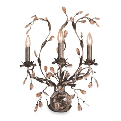 ELK Lighting Circeo 3-Light Wall Bracket in Deep Rust and Crystal Droplets