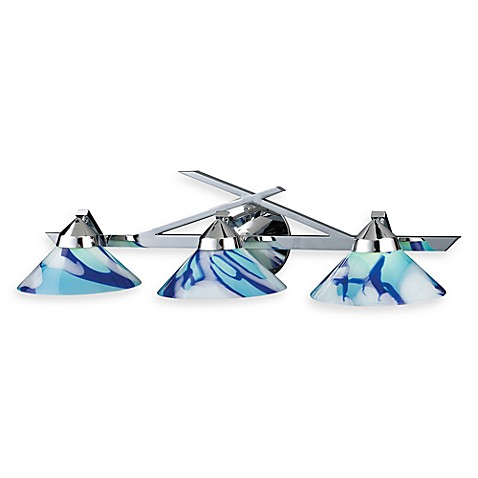 ELK Lighting Refraction 3-Light Wall Bracket In Polished Chrome And Carribean Glass