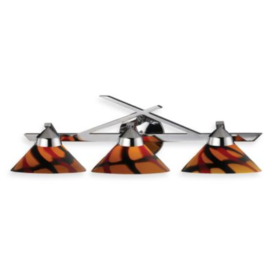 ELK Lighting Refraction 3-Light Wall Bracket In Polished Chrome And Jasper Glass