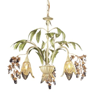 ELK Lighting Huarco 3-Light Blossom Chandelier in Seashell and Amber Glass