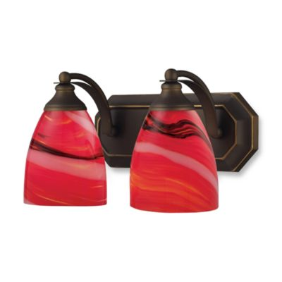 ELK Lighting Vanity Series 2-Light Vanity in Aged Bronze and Fire Red Glass