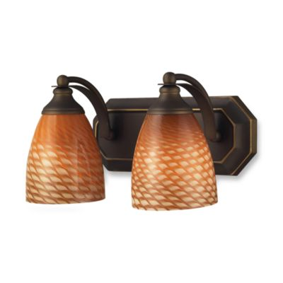ELK Lighting Vanity Series 2-Light Vanity in Aged Bronze and Coco Glass