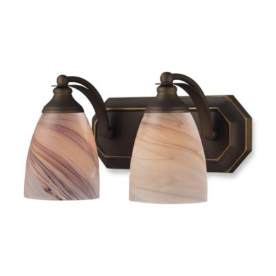 ELK Lighting Vanity Series 2-Light Vanity in Aged Bronze and Creme Glass