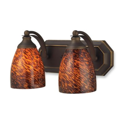 ELK Lighting Vanity Series 2-Light Vanity in Aged Bronze and Espresso Glass