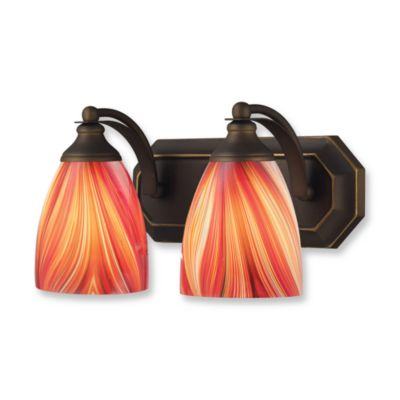 ELK Lighting Vanity Series 2-Light Vanity in Aged Bronze and MultiColor Glass