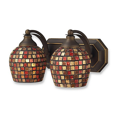 ELK Lighting Vanity Series 2-Light Vanity in Aged Bronze and MultiColor Mosaic Glass
