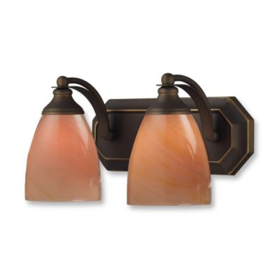 ELK Lighting Vanity Series 2-Light Vanity in Aged Bronze and Sandy Glass