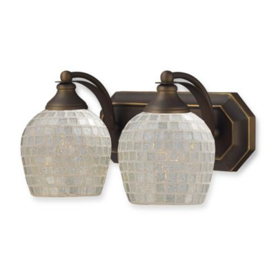 ELK Lighting Vanity Series 2-Light Vanity in Aged Bronze and White Mosaic Glass