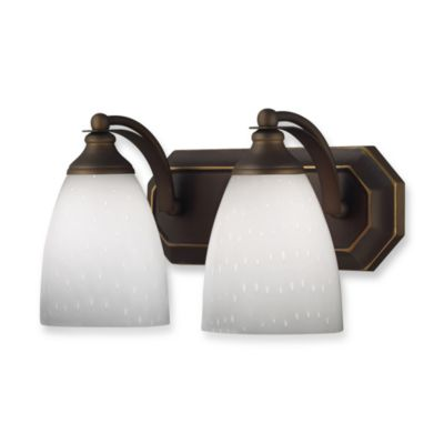 ELK Lighting Vanity Series 2-Light Vanity in Aged Bronze and Simply White Glass
