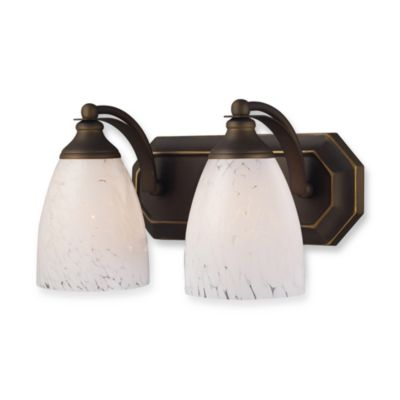ELK Lighting Vanity Series 2-Light Vanity in Aged Bronze and Snow White Glass
