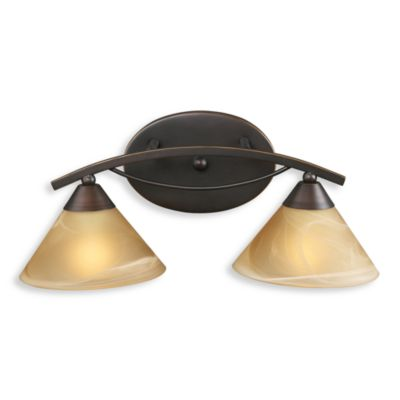 ELK Lighting Elysburg 2-Light Vanity in Aged Bronze and Tea Swirl Glass
