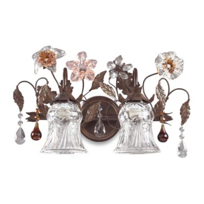 ELK Lighting Cristallo Fiore 2-Light Vanity In Deep Rust And Hand Blown Florets