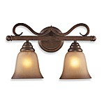 ELK Lighting Lawrenceville 2-Light Vanity In Mocha And Antique Amber Glass