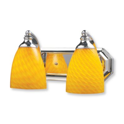 ELK Lighting Vanity Series 2-Light Vanity in Polished Chrome and Canary Yellow Glass