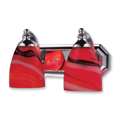 ELK Lighting Vanity Series 2-Light Vanity in Polished Chrome and Red Glass