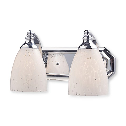 ELK Lighting Vanity Series 2-Light Vanity in Polished Chrome and Snow White Glass