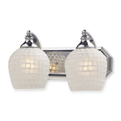 ELK Lighting Vanity Series 2-Light Vanity in Polished Chrome and White Mosaic Glass