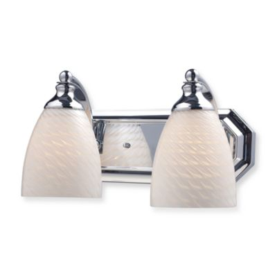 ELK Lighting Vanity Series 2-Light Vanity in Polished Chrome and White Swirl Glass