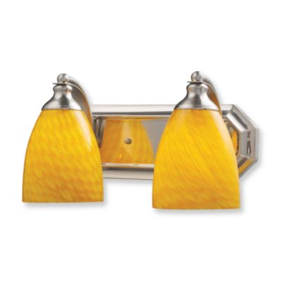 ELK Lighting 2-Light Vanity In Satin Nickel And Canary Glass