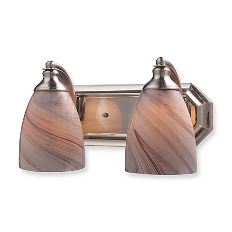 ELK Lighting 2-Light Vanity in Satin Nickel and Creme Glass