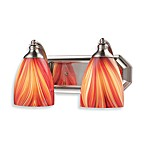 ELK Lighting 2-Light Vanity in Satin Nickel and MultiColor Glass