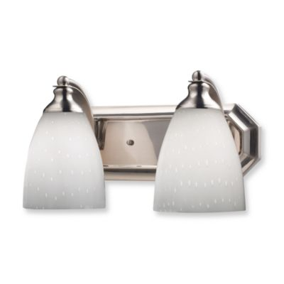 ELK Lighting 2-Light Vanity in Satin Nickel and Simply White Glass