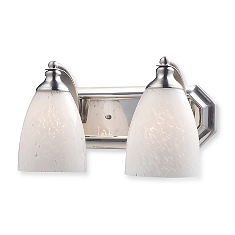 ELK Lighting 2-Light Vanity in Satin Nickel and Snow White Glass