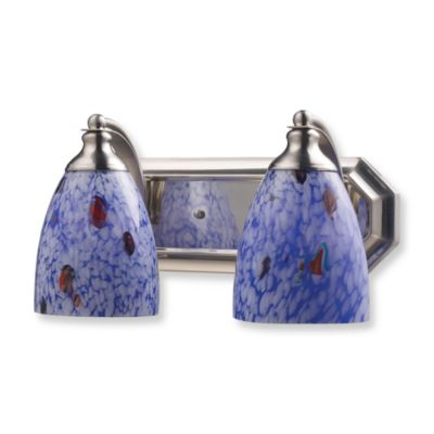 ELK Lighting 2-Light Vanity in Satin Nickel and Starburst Blue Glass