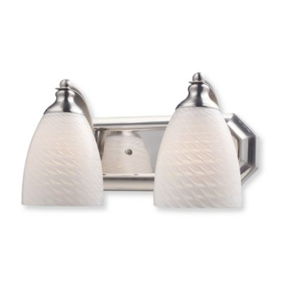 ELK Lighting 2-Light Vanity in Satin Nickel and White Swirl Glass