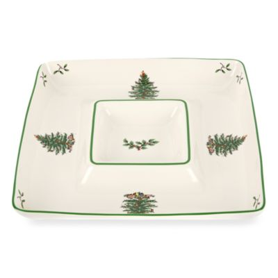 Spode® Christmas Tree Square Chip N' Dip