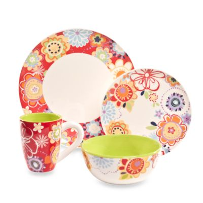 Euro Ceramica Floral Delight 6-Inch Cereal Bowls (Set of 4)