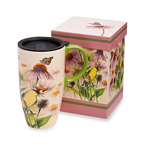 Butterfly 19-Ounce Travel Latte Mug with Lid