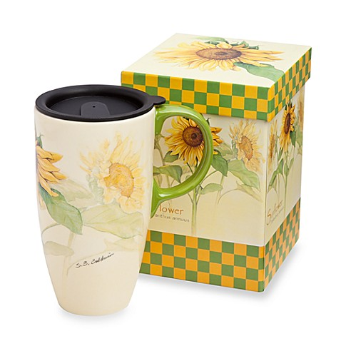 Sunflower 19-Ounce Travel Latte Mug with Lid