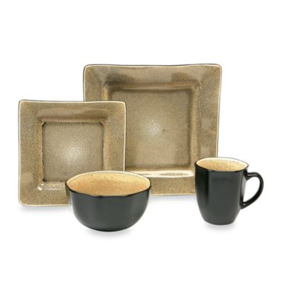 Baum Square 16-Piece Dinnerware Set in Tan