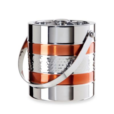 Hammered Stainless Steel 60-Ounce Ice Bucket with Copper Accents