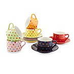 Classic Coffee & Tea Polka Dot Teacup and Saucer (Set of 6)