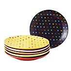 Classic Coffee & Tea Polka Dot Dessert Plates (Set of 6)