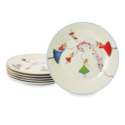Classic Coffee & Tea Dancing Fairies Dessert Plates (Set of 6)